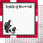 Scrapbook Customs - Sights Collection - 12 x 12 Double Sided Paper - Flag - Denmark