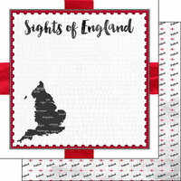 Scrapbook Customs - Sights Collection - 12 x 12 Double Sided Paper - Flag - England