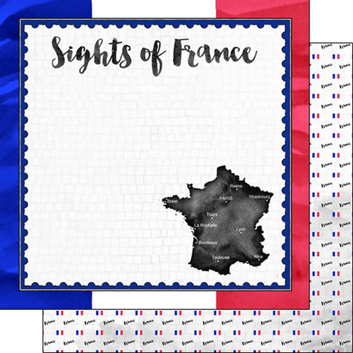 Scrapbook Customs - Sights Collection - 12 x 12 Double Sided Paper - Flag - France