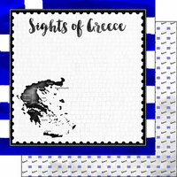 Scrapbook Customs - Sights Collection - 12 x 12 Double Sided Paper - Flag - Greece
