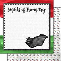 Scrapbook Customs - Sights Collection - 12 x 12 Double Sided Paper - Flag - Hungary