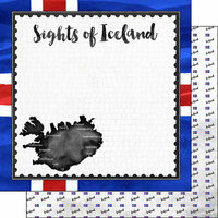 Scrapbook Customs - Sights Collection - 12 x 12 Double Sided Paper - Flag - Iceland
