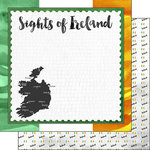 Scrapbook Customs - Sights Collection - 12 x 12 Double Sided Paper - Flag - Ireland