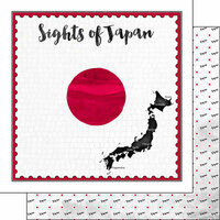 Scrapbook Customs - Sights Collection - 12 x 12 Double Sided Paper - Flag - Japan