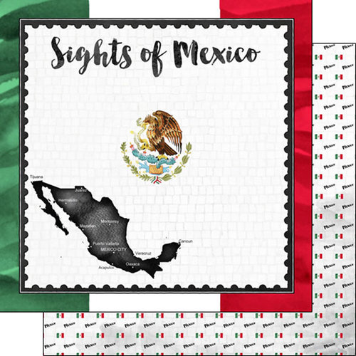 Scrapbook Customs - Sights Collection - 12 x 12 Double Sided Paper - Flag - Mexico