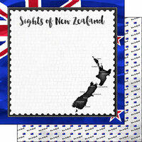 Scrapbook Customs - Sights Collection - 12 x 12 Double Sided Paper - Flag - New Zealand