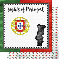 Scrapbook Customs - Sights Collection - 12 x 12 Double Sided Paper - Flag - Portugal