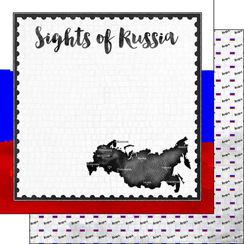 Scrapbook Customs - Sights Collection - 12 x 12 Double Sided Paper - Flag - Russia