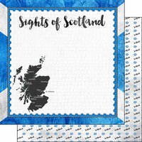 Scrapbook Customs - Sights Collection - 12 x 12 Double Sided Paper - Flag - Scotland