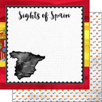 Scrapbook Customs - Sights Collection - 12 x 12 Double Sided Paper - Flag - Spain