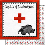 Scrapbook Customs - Sights Collection - 12 x 12 Double Sided Paper - Flag - Switzerland