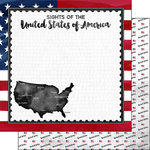 Scrapbook Customs - Sights Collection - 12 x 12 Double Sided Paper - Flag - USA