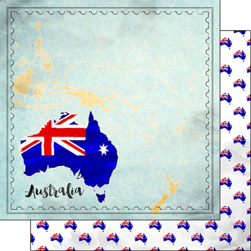 Scrapbook Customs - Sights Collection - 12 x 12 Double Sided Paper - Map - Australia