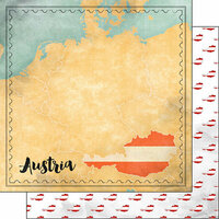 Scrapbook Customs - Sights Collection - 12 x 12 Double Sided Paper - Map - Austria