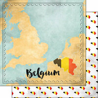 Scrapbook Customs - Sights Collection - 12 x 12 Double Sided Paper - Map - Belgium