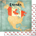 Scrapbook Customs - Sights Collection - 12 x 12 Double Sided Paper - Map - Canada