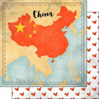 Scrapbook Customs - Sights Collection - 12 x 12 Double Sided Paper - Map - China