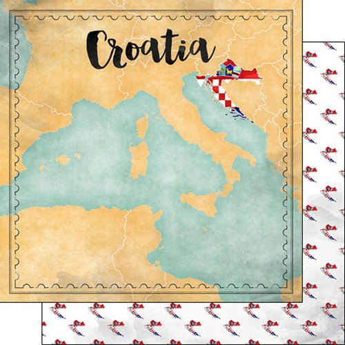 Scrapbook Customs - Sights Collection - 12 x 12 Double Sided Paper - Map - Croatia