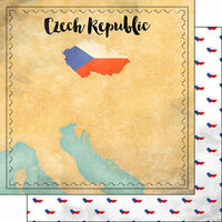 Scrapbook Customs - Sights Collection - 12 x 12 Double Sided Paper - Map - Czech Republic