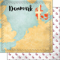 Scrapbook Customs - Sights Collection - 12 x 12 Double Sided Paper - Map - Denmark