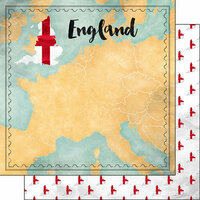 Scrapbook Customs - Sights Collection - 12 x 12 Double Sided Paper - Map - England