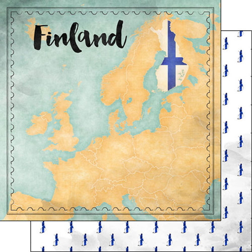 Scrapbook Customs - Sights Collection - 12 x 12 Double Sided Paper - Map - Finland