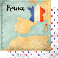 Scrapbook Customs - Sights Collection - 12 x 12 Double Sided Paper - Map - France