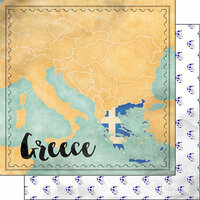 Scrapbook Customs - Sights Collection - 12 x 12 Double Sided Paper - Map - Greece