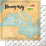 Scrapbook Customs - Sights Collection - 12 x 12 Double Sided Paper - Map - Hungary