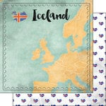 Scrapbook Customs - Sights Collection - 12 x 12 Double Sided Paper - Map - Iceland