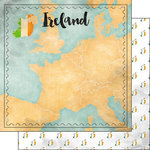 Scrapbook Customs - Sights Collection - 12 x 12 Double Sided Paper - Map - Ireland