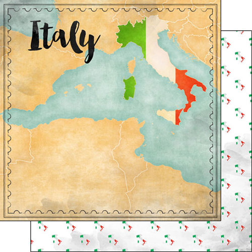 Scrapbook Customs - Sights Collection - 12 x 12 Double Sided Paper - Map - Italy