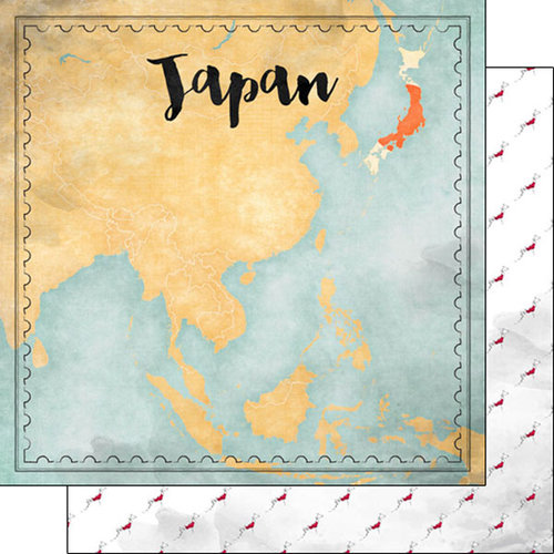 Scrapbook Customs - Sights Collection - 12 x 12 Double Sided Paper - Map - Japan