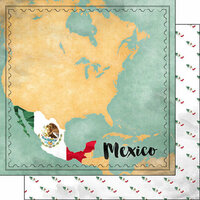 Scrapbook Customs - Sights Collection - 12 x 12 Double Sided Paper - Map - Mexico