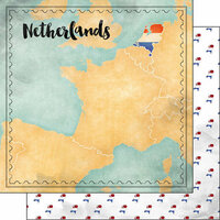 Scrapbook Customs - Sights Collection - 12 x 12 Double Sided Paper - Map - Netherlands