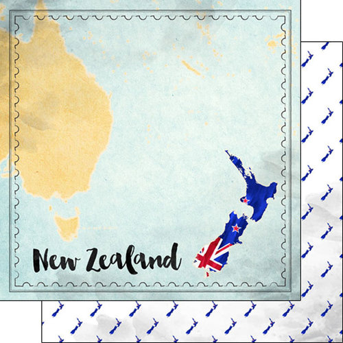 Scrapbook Customs - Sights Collection - 12 x 12 Double Sided Paper - Map - New Zealand