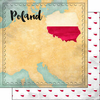 Scrapbook Customs - Sights Collection - 12 x 12 Double Sided Paper - Map - Poland