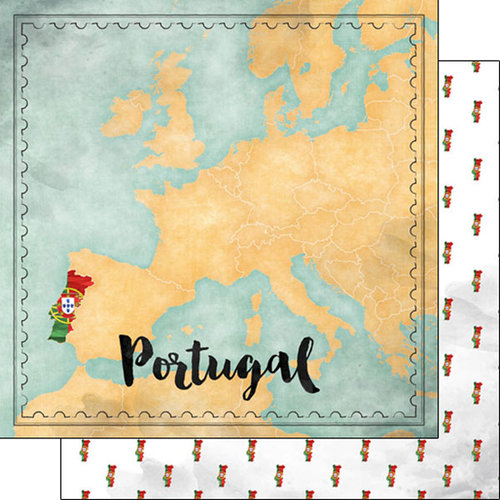 Scrapbook Customs - Sights Collection - 12 x 12 Double Sided Paper - Map - Portugal