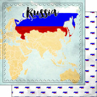Scrapbook Customs - Sights Collection - 12 x 12 Double Sided Paper - Map - Russia