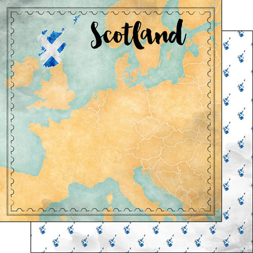 Scrapbook Customs - Sights Collection - 12 x 12 Double Sided Paper - Map - Scotland