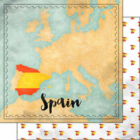 Scrapbook Customs - Sights Collection - 12 x 12 Double Sided Paper - Map - Spain