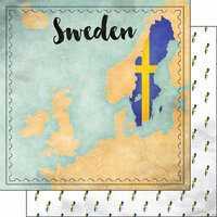 Scrapbook Customs - Sights Collection - 12 x 12 Double Sided Paper - Map - Sweden