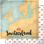 Scrapbook Customs - Sights Collection - 12 x 12 Double Sided Paper - Map - Switzerland