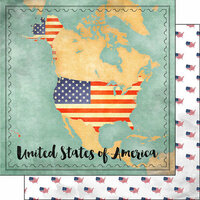 Scrapbook Customs - Sights Collection - 12 x 12 Double Sided Paper - Map - USA