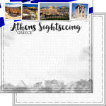 Scrapbook Customs - Sights Collection - 12 x 12 Double Sided Paper - City - Athens