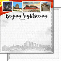Scrapbook Customs - Sights Collection - 12 x 12 Double Sided Paper - City - Beijing