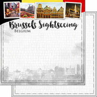 Scrapbook Customs - Sights Collection - 12 x 12 Double Sided Paper - City - Brussels