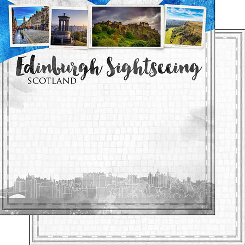 Scrapbook Customs - Sights Collection - 12 x 12 Double Sided Paper - City - Edinburgh