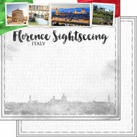 Scrapbook Customs - Sights Collection - 12 x 12 Double Sided Paper - City - Florence