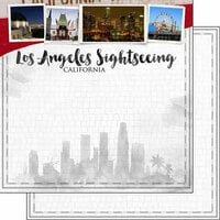 Scrapbook Customs - Sights Collection - 12 x 12 Double Sided Paper - City - Los Angeles